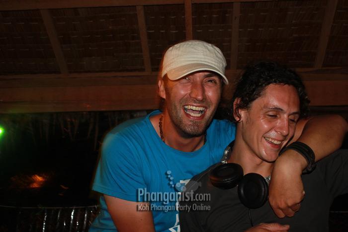 DJ Absolud with DJ Darragh Casey at Loi Lay party Koh Phangan